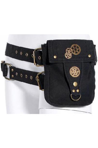 RQBL Black Steampunk Belt Bag | Angel Clothing