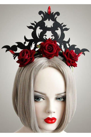 Red Rose and Flourish Gothic Headpiece | Angel Clothing