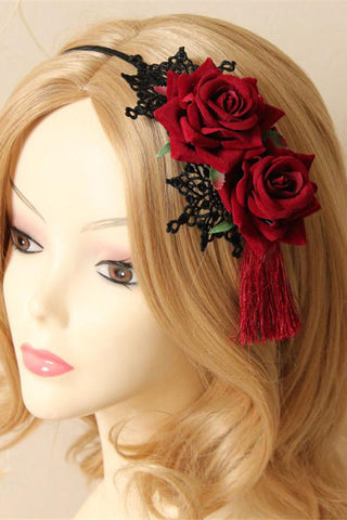 Red Rose and Lace Tassle Headband | Angel Clothing