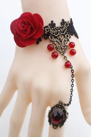Red Rose Lace Slave Bracelet | Angel Clothing