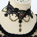 Black Lace Gothic Choker with Red Gem | Angel Clothing