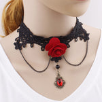Black Lace Red Rose Choker | Angel Clothing