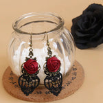Red Rose Gothic Lace Earrings | Angel Clothing