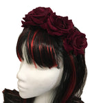 Red Rose Hair Garland Gothic Headdress | Angel Clothing