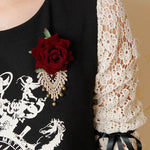 Red Rose Ivory Lace Steampunk Brooch | Angel Clothing