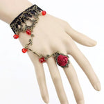 Black Lace Red Rose Slave Bracelet | Angel Clothing
