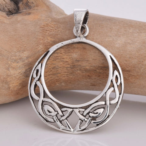 Seventh Sense Round Celtic Crescent Pendant Silver | Angel Clothing