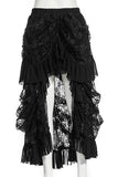 RQ-BL - Victorian Gothic Long Black Lace Steampunk Skirt | Angel Clothing