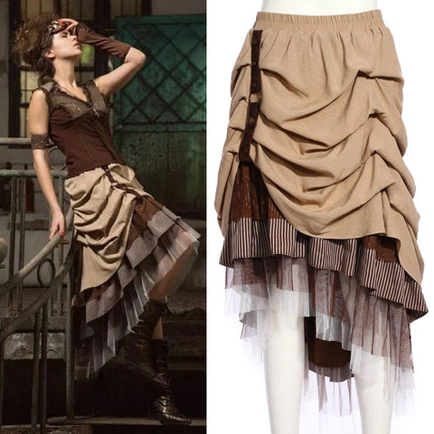 RQBL Gathered Hitched Steampunk Skirt | Angel Clothing