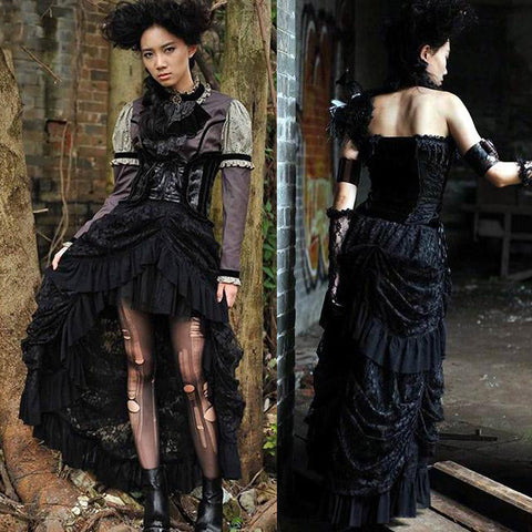 RQBL Victorian Long Black Skirt | Angel Clothing