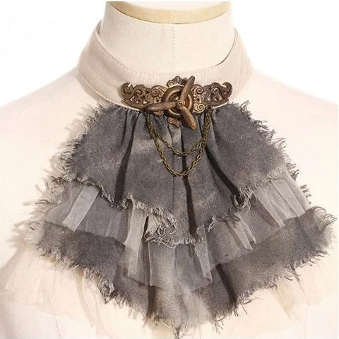 RQBL Ragdoll Jabot Steampunk Grey | Angel Clothing