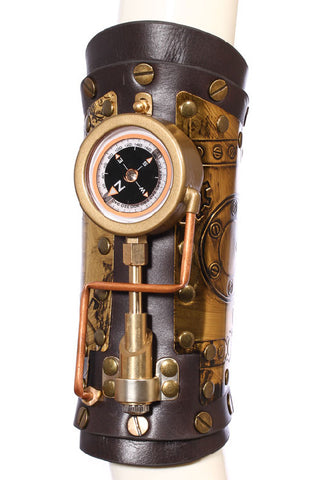 RQBL Steampunk Arm Gauntlet Compass Tubes Bronze Panels LED | Angel Clothing