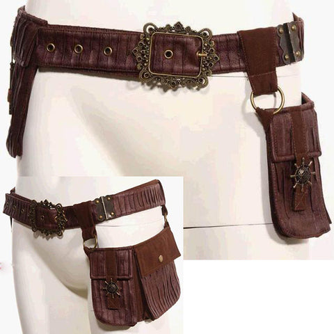 RQBL Brown Steampunk Belt | Angel Clothing