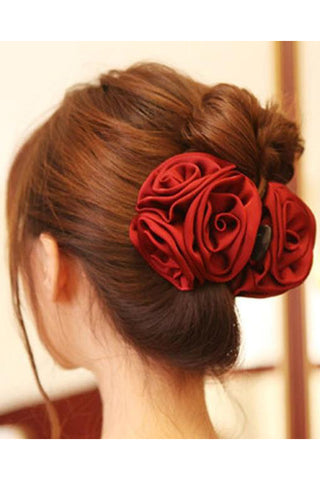 Satin Rose Large Claw Hair Clip | Angel Clothing