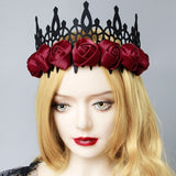 Red Satin Gothic Rose Crown | Angel Clothing
