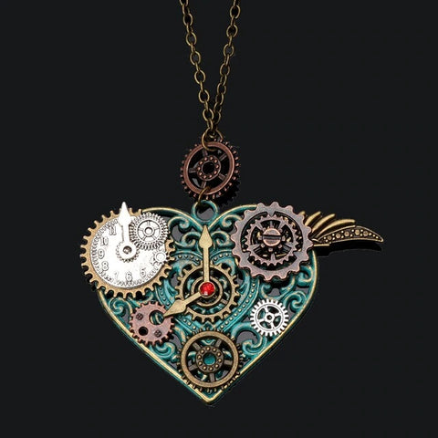 Steampunk Heart Necklace | Angel Clothing