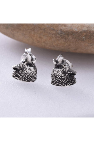 Seventh Sense Howling Wolf Head Stud Earrings Silver | Angel Clothing
