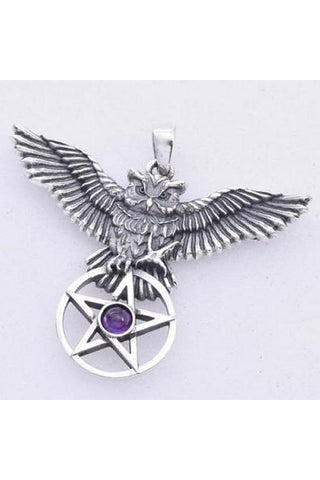 Seventh Sense Owl and Pentagram Pendant Silver | Angel Clothing