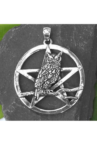 Seventh Sense Owls Rest with Pentagram Pendant Silver | Angel Clothing