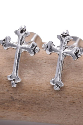 Seventh Sense Silver Cross Earrings | Angel Clothing