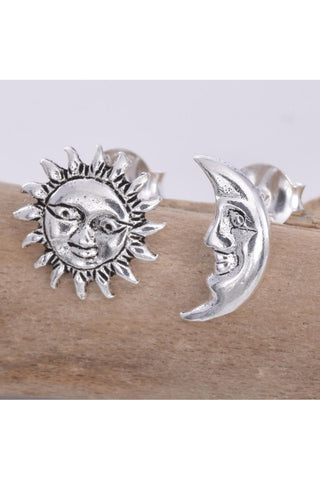 Silver Sun and Moon Stud Earrings | Angel Clothing