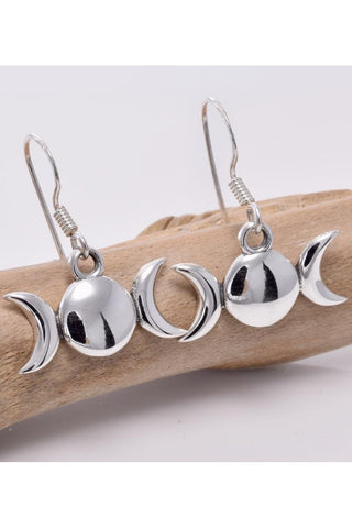 Seventh Sense Silver Triple Moon Drop Earrings | Angel Clothing