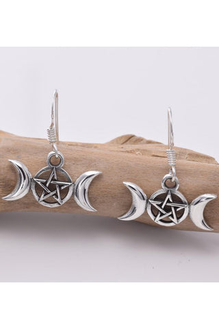 Seventh Sense Silver Triple Moon Earrings | Angel Clothing