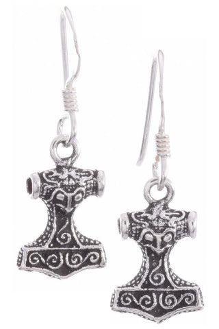 Seventh Sense Thors Hammer Earrings Silver | Angel Clothing