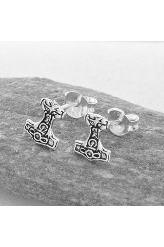 Seventh Sense Thors Hammer Stud Earrings Silver | Angel Clothing