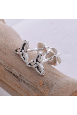 Seventh Sense Triquetra Stud Earrings Silver | Angel Clothing