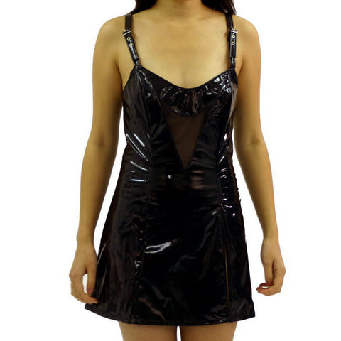 Sexy PVC and Fishnet Dress with Shoulder Straps and Choker | Angel Clothing
