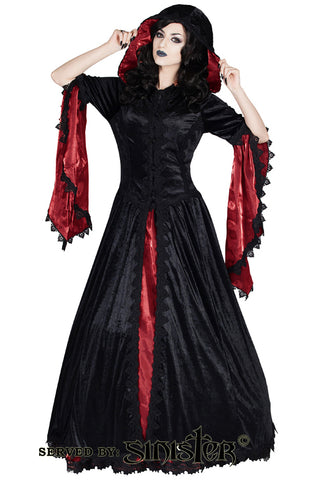 Sinister Long Velvet Red Hooded Coat 953 | Angel Clothing