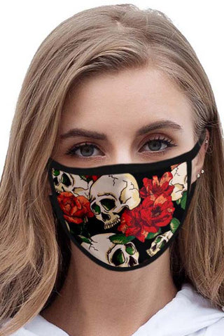 Skull and Roses Face Mask | Angel Clothing