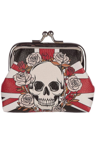 White Skulls and Roses Union Jack Purse | Angel Clothing