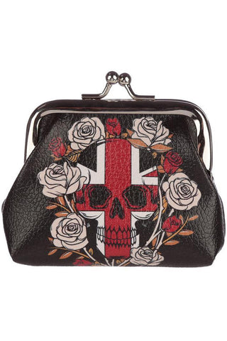 Black Skulls and Roses Union Jack Purse | Angel Clothing