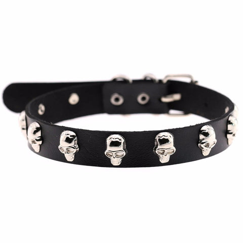 Black Gothic Skull Stud Collar | Angel Clothing
