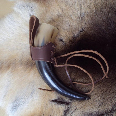 Small Brown Medieval / Viking Drinking Horn With Leather Holder - Angel Clothing