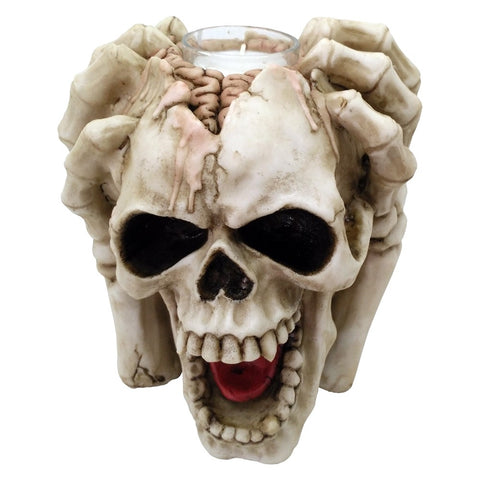 Splitting Headache Tealight Holder, Skeleton Skull Gothic Candlestick | Angel Clothing