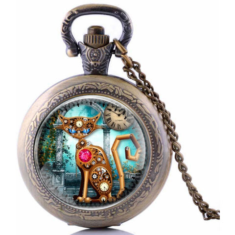 Steampunk Cat Pocket Watch SPW-CAT-1 - Angel Clothing