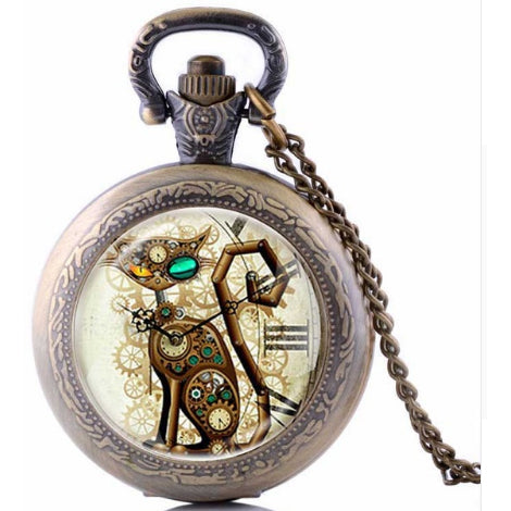 Steampunk Cat Pocket Watch SPW-CAT-2 - Angel Clothing