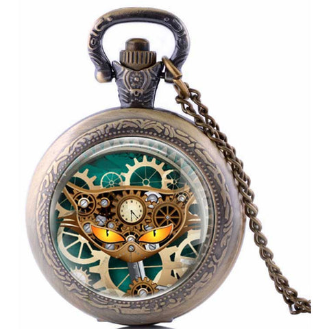Steampunk Cat Pocket Watch SPW-CAT-3 | Angel Clothing