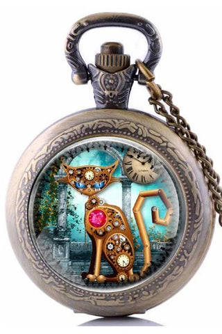 Steampunk Cat Pocket Watch SPW-CAT-1 | Angel Clothing