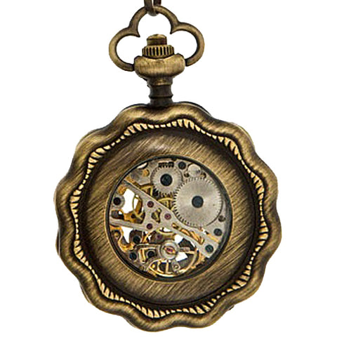 Steampunk Clockwork Pocket Watch Antique Brass Tone Flower Shape - Angel Clothing