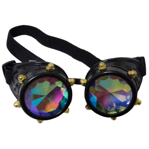 Steampunk Crystal Vision Goggles with Kaleidoscopic Lenses - Angel Clothing