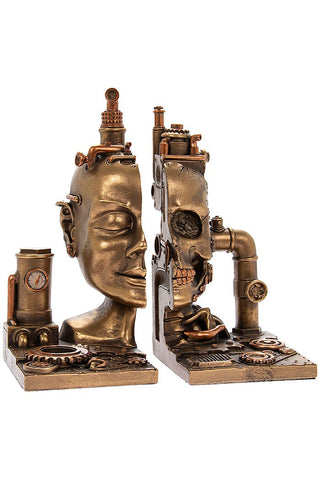Steampunk Cyber Skull Bookends | Angel Clothing
