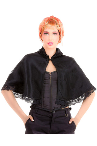 Steampunk Shoulder Cape Black Lace and Organza | Angel Clothing