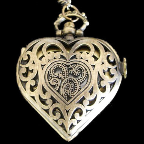 Steampunk Pocket Watch, Brass Tone Heart Shaped Necklace Watch | Angel Clothing