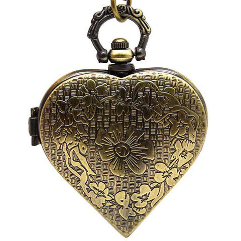 Steampunk Pocket Watch, Brass Tone Heart Shaped Necklace Watch - Angel Clothing