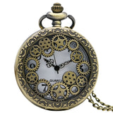Steampunk Pocket Watch with Gears on Necklace Chain | Angel Clothing