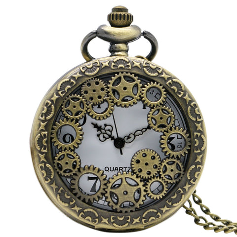Steampunk Pocket Watch with Gears on Necklace Chain - Angel Clothing
